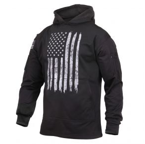 Rothco Mens Distressed US Flag Concealed Carry Hooded Sweatshirt - Size S - XL Front View